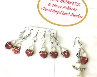 Stitch Markers for Knitters, Open Hook Stitch Markers, Red Locket Stitch Marker Set, Stitch Markers Gift Set, Knitters Stitch Markers