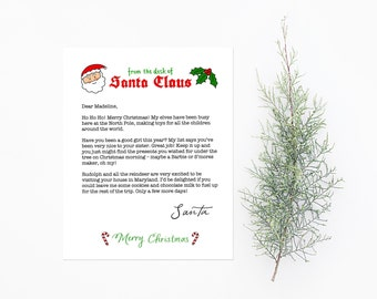 "Letter from Santa Template - Instantly Download, Edit, and Print - 8.5""x11"""