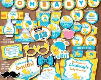 Self Editing Rubber Duck Baby Shower Decoration Printable Rubber Ducky Baby  Shower Decors