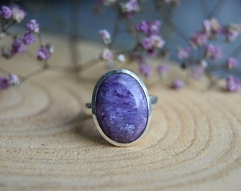 Charoite Ring, Sterling Silver Ring, Boho Rings, Gift for women, Charoite Size 8, Charoite Jewelry, Handmade Ring, Silver ring, Purple Ring