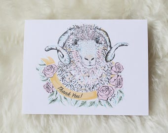 SET OF 5: Thank You Cards | FibreShare Card | Sheep Card | Pretty Thank You Card
