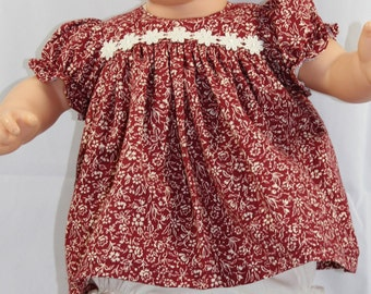 "Hand Sewn Two Piece Baby Doll Clothing Set for 14-16"" Dolls (Shown on 15"" Bitty Baby, Doll Not Included)"