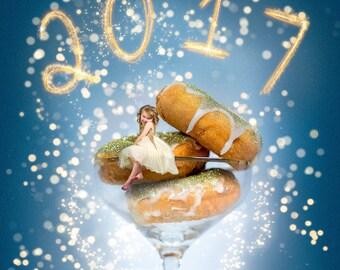 SALE!! THREE Glitter Donuts Macrso /New Years Digital Backdrop/ New Year Digital Background/ Digital Art