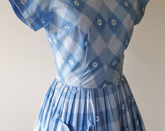 Vintage 1950's Blue Check Sun Dress | Vintage Sun Dress with Pockets | Vintage 1950s Dress |