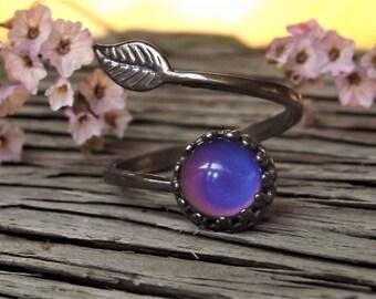 MOOD RING - Sterling Silver Mood -Leaf Crown Ring- Sterling Silver Ring - Mood Cabachon - Mood Sterling Crown - Silver Mood Crown