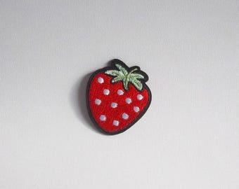 Strawberry patch, Strawberry iron on patch, Fruit patch embroidery, Iron on strawberry applique, Embroidered patch, Fruit sew on patch