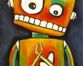 4x6 wood print of original robot art