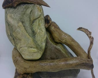 THE OLD SHEPHERD Stone and driftwood art