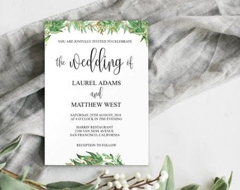 Greenery Wedding Invitation Printable, Greenery Wedding Invitation Template, Wedding Invitation Template Download, DIY Wedding Invite, 0023