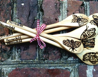 Wood burned personalized wooden spoons. Birthday gift, anniversary gift, new home / moving in, housewarming gift, mothers day gift