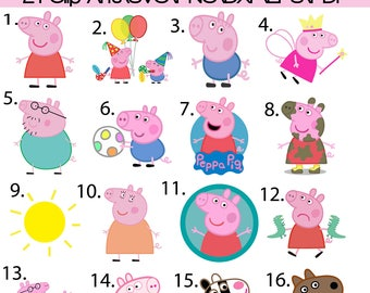 21 Peppa pig Clip Arts, Layered SVG, PNG, 300 PPI, Instant Download