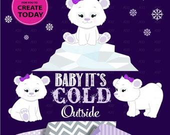 Polar Bear Girl Baby Winter Wonderland cliparts purple, baby polar bears, lavender, winter nursery, iceberg, snowflake, baby girl, girl bear