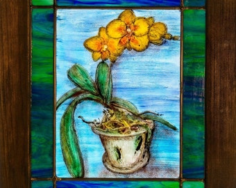 Orchid fused stained glass leaded panel