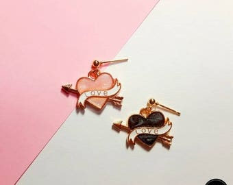 Heart Arrow Glitter Earring, Simple Daily Cute Luxury Lovely Mini Handmade Silver Earring Jewelry Set Birthday Anniversary Bridal Gift