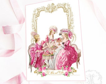 Marie Antoinette printable, for invitations, cards, tea party, Let them eat cake, instant digital download, personal, commercial use
