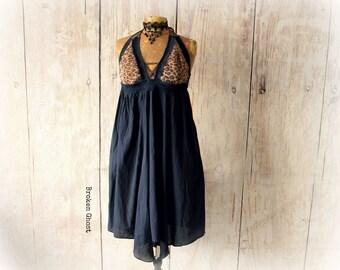 Funky Halter Dress Leopard Print Bohemian Gypsy Recycled Reconstruct Empire Waist Dress Flowy Boho Clothing Plunging Neckline M L 'SHILOH'