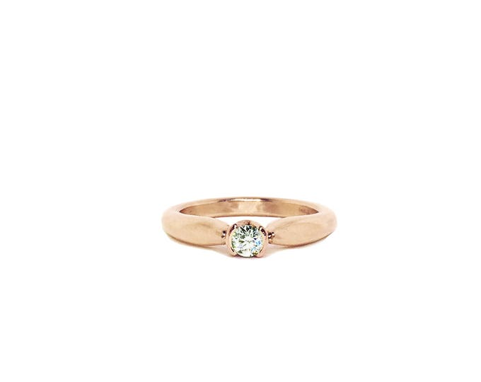 Rose Gold Diamond Solitaire Unique Engagement Ring_ Blossoming Love ring