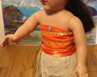 Moana like outfit for 18 inch or American girl doll, polynesian, Hawaiian, Handmade