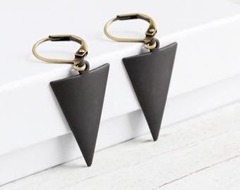 Rustic Black Ox Triangle Dangle Earrings on Antiqued Brass Hooks (Shorter Version)