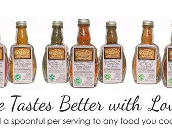 Edible Rainbow - All Nine Medi-size Artisan Spice Blends - Farmer's Market - Gourmet Gift Box Set - Herbs & Spices - Food - DIY Dip Mix