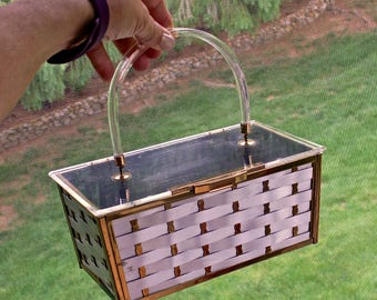 Vintage Woven Metal Silver Gold Box Basket Bag Purse 1950s Clear Lucite Lid and Handle Made by Majestic Mid Century Mod Accessory 50s Chic