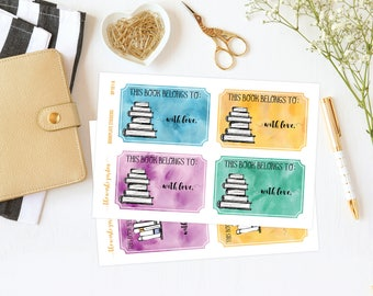 Book Stickers, Book Labels, From the Library of Stamp, Library Stickers, This Book Belongs To Stickers, Baby Shower Gift, Book Lover Gift