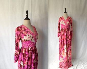 1960s floral jersey gown
