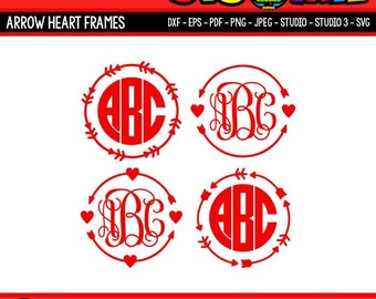 Arrow Monogram SVG Arrow Heart SVG Files for Cricut SVG Files for Silhouette Digital Files Arrow Circle svg Valentines svg dxf png eps files
