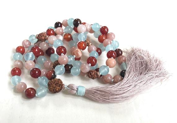 Sunstone Mala Beads, Rudraksha Mala Necklace, Dream Agate and Jade Hand Knotted Mala, 108 Bead Mala Necklace, Silk Tassel Japa Mala, 108