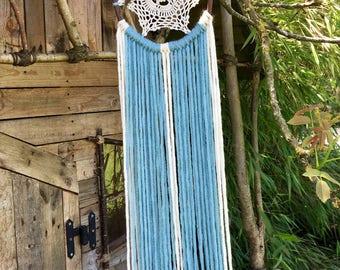 Dream Catcher - Boho Chic Decor - Bohemian Dreamcatcher - Blue Baby Mobile - Attrape Rêves - Baby Shower - Wall Hanging