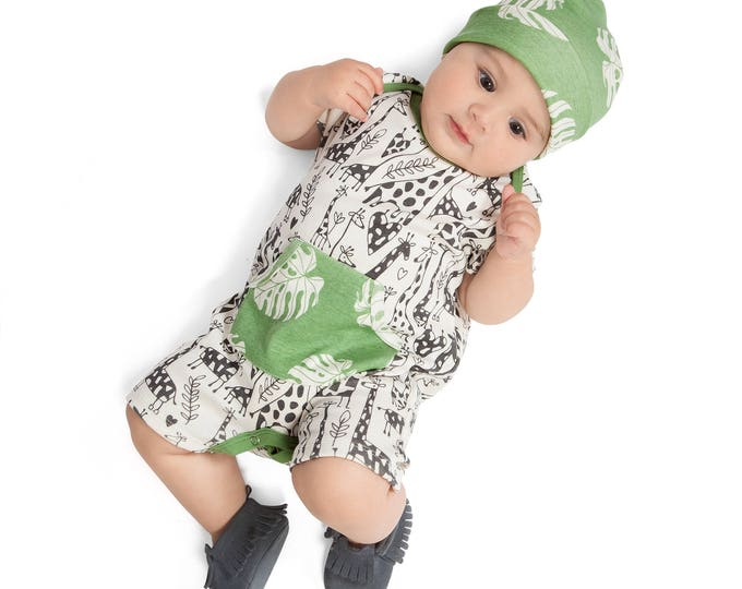 Newborn Baby Onesie Outfit, Short Sleeve Baby Boy Onesie Pocket Romper, Baby Boy Giraffe Romper, Infant Boy Onesie Bodysuit, Summer