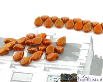 50pcs Czech Glass Pip Beads Opaque Orange TERACOTTA RED Petals - Drop Beads - Preciosa pip 5x7mm [B-18]