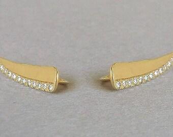 Diamond Ear Climber, Gold Ear Climber, Gold Pave Ear Cuff, Diamond Pave Ear Cuff, Gold Pave Ear Crawler, Diamond Pave  Ear Crawler