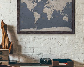 World map poster etsy world map poster print executive style modern map decor uncustomized gumiabroncs Choice Image