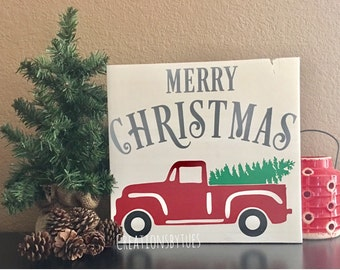 Red Truck Christmas Sign, Old Truck Christmas Sign, Christmas Sign, Truck With Tree Sign, Red Truck With Tree Sign, Merry Christmas Sign