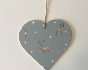 Highland Stag Print~Decoupaged Hanging Heart/ Gift Tag~ Countryside Winter Highlands Country Kitchen Decor Gift 10cm/8cm/5cm