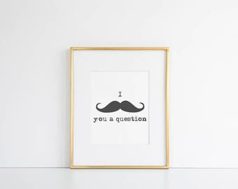 Moustache Printable // Mustache Wall Art, Moustache Printable, Movember, Boys Room Decor, Hipster Wall Decor, Minimalist Printable