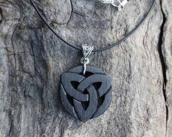 Handcarved Irish Bog Oak Triquetra Necklace, 5000 Year Old Bog Oak Celtic Jewellery, Handmade in Ireland, Celtic Pagan Bog Oak Jewellery
