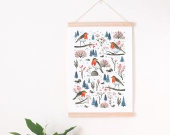 robin art print, bird lover gift, winter home decor, christmas decor, christmas print winter decor, holiday decor, Robin print, winter print