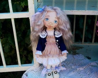 Textile doll Handmade doll baby doll Collectible doll cloth doll interior toys tilda Art doll removable cloth doll gift by Jenay