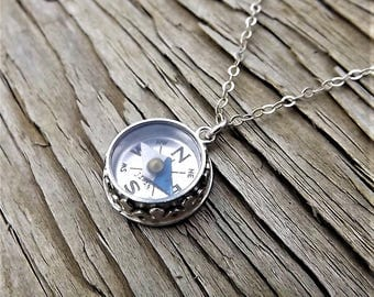 Sterling Silver Working Compass Necklace - Vintage Compass Necklace - Vintage Minature Compass - Tiny Compass Travel Necklace - Novelty Gift