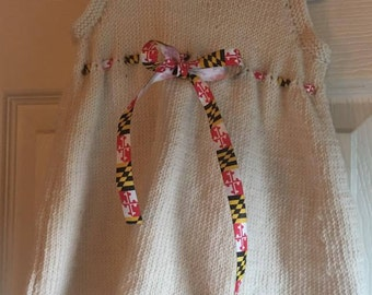 Handmade Cream Cashmere/silk Dress size 6-9 Months