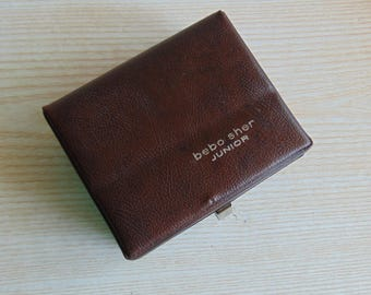 Vintage Brown Leather Box ,Case With Metal Closure, Trinket Box, Jewelry Box,