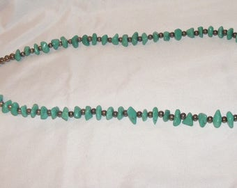 Vintage Turquoise Nugget and Silver Bead Necklace