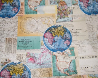 Globes world map fabric novelty fabric world map globe bty vintage cartography world map 100 cotton quilt craft david textiles fabric by the yard gumiabroncs Image collections