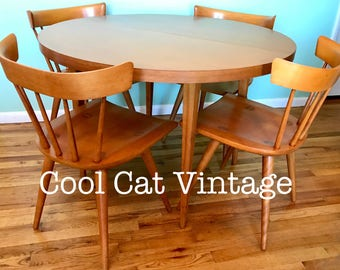 MCM Paul McCobb Round Dining table & 4 Chairs (*please see notes on shipping)