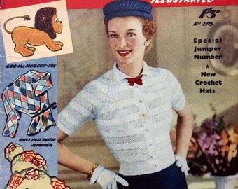Vintage magazine 1950's Needlework Illustrated 218 knitting sewing crochet cross stitch patterns