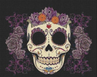 Sugar Cross Stitch Pattern Pdf Skull Pattern pop art pattern point de croix - 193 x 167 stitches - INSTANT Download - B776