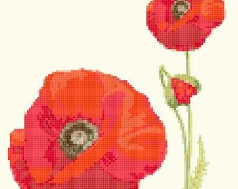 poppy flower Cross Stitch Pattern poppy flower pattern poppy flower pdf chart -110 x 126 stitches- INSTANT Download - B1369