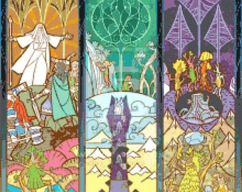 LOTR Cross Stitch Pattern lord of the rings pattern stained glass pattern - 220 x 309 stitches - Instant Download - B980